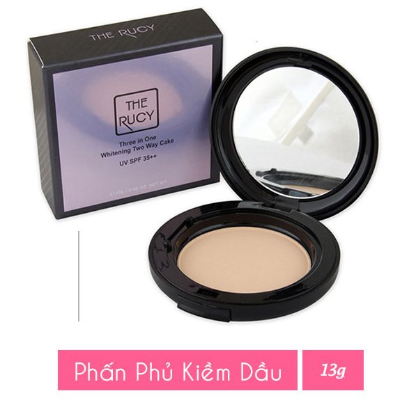 Phấn nén The Rucy Three in One Whitening Two Way Cake 13g